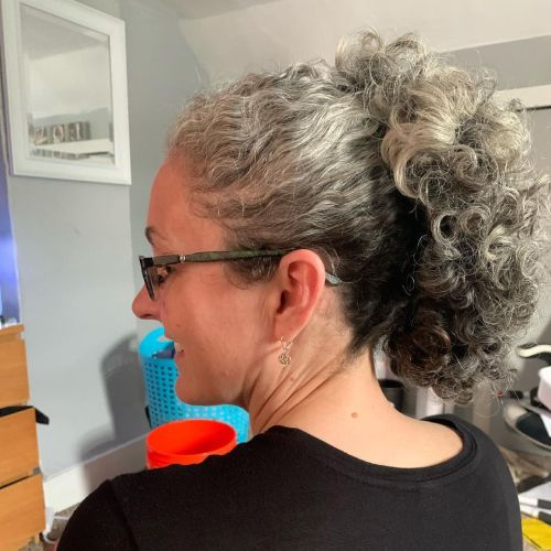 Curly Gray Hair Hairstyle