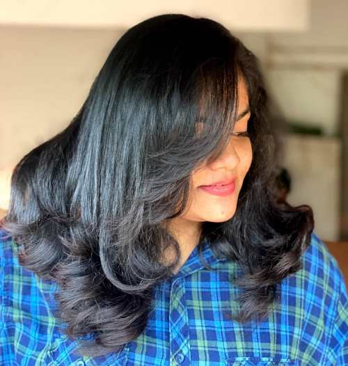 Hairstyle for Thick Hair with Curled Ends and Layering