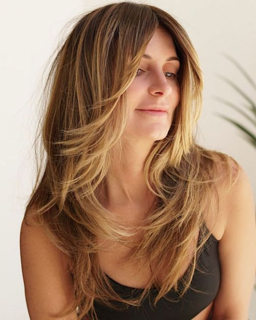 Long Haircut with Flicked Face Framing Layers