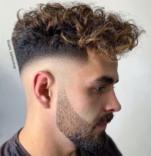 Men's Hairstyle with Highlighted Curls