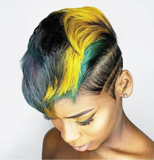 Green and Yellow Hair Color on Brown Skin