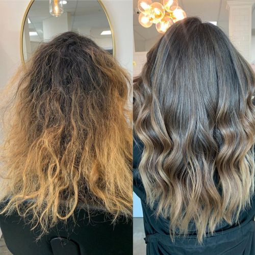 Deep Conditioning Hair Before and After Image