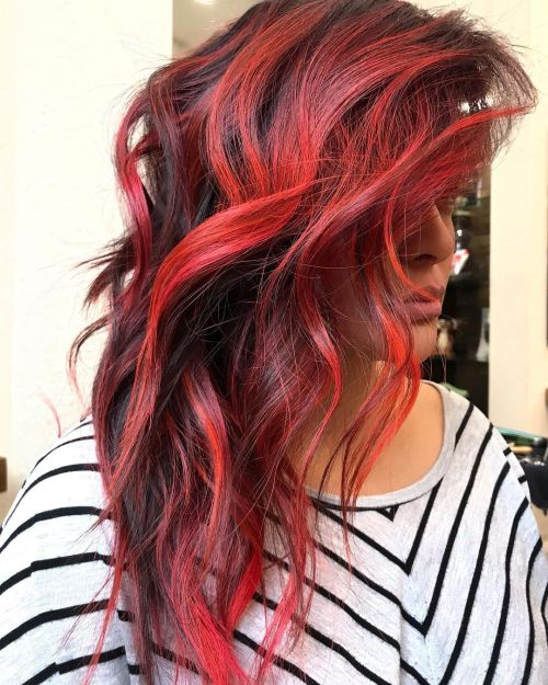 Black Hair with Dark and Bright Red Accents