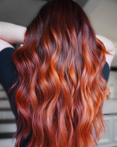 Orange Highlights in Dark Red Hair