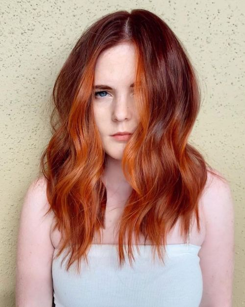 Natural Red Hair with Dark Red Lowlights