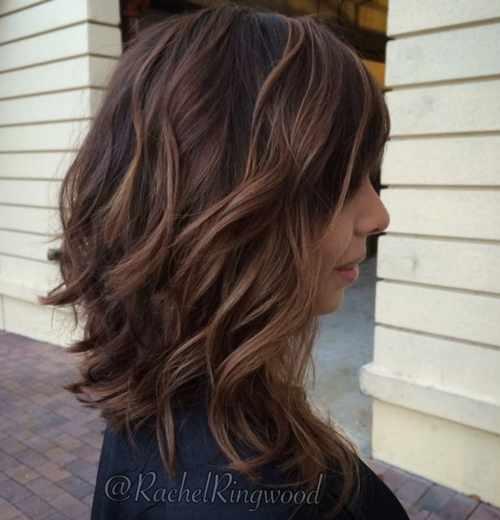 medium length wavy brunette balayage hair