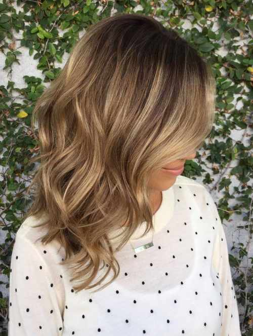 medium brown layered balayage hair
