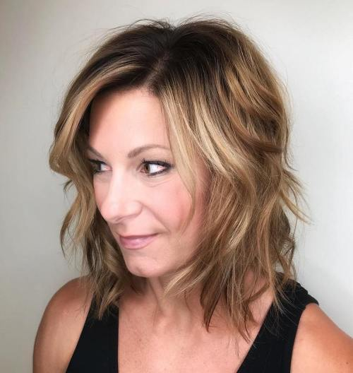 Multi-Colored Wavy Bob With Shadow Root