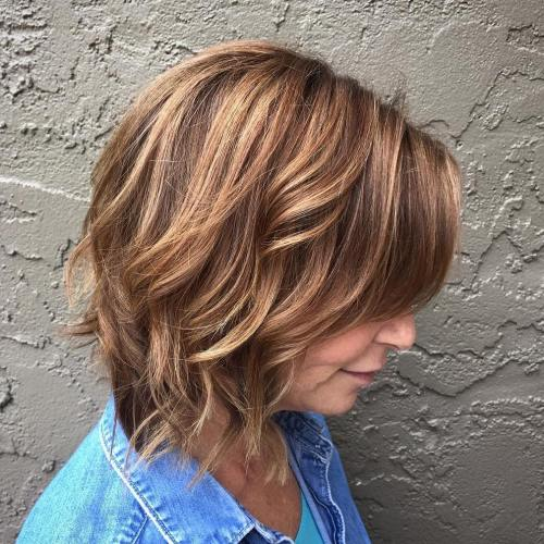 Wavy Bob With Layers And Highlights