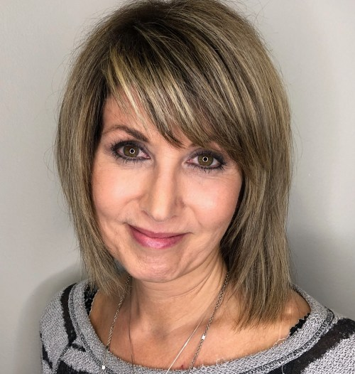Medium Cut With Highlights For Over 40 Women