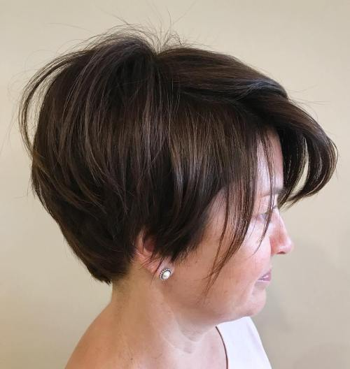 Textured Brown Bob For Women Over 40