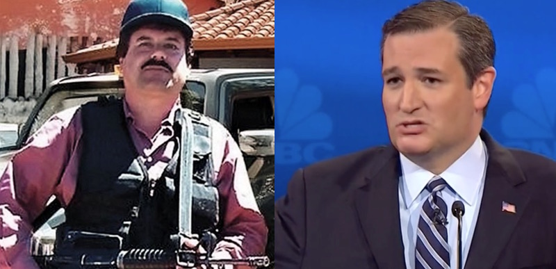 Image result for senator cruz paying for wall with drug cartel money assets el chapo
