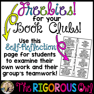 Click here for a FREEBIE that helps students with Self-Reflection during Book Clubs!
