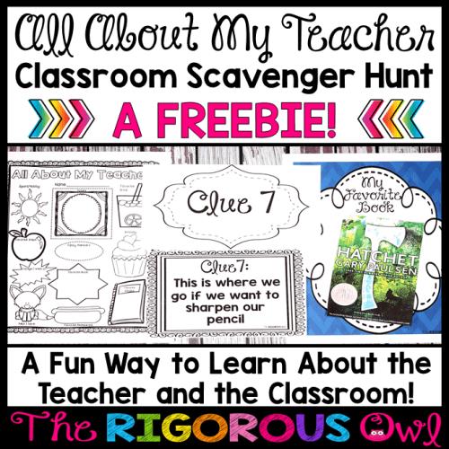 All About My Teacher Classroom Scavenger Hunt Back to School Freebie