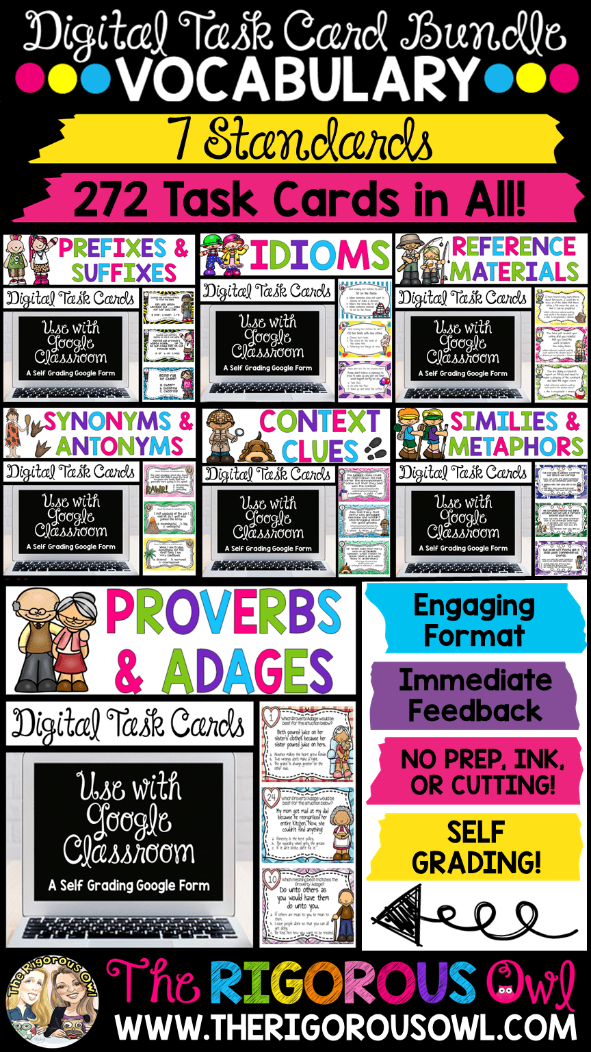 Vocabulary Digital Task Card Bundle
