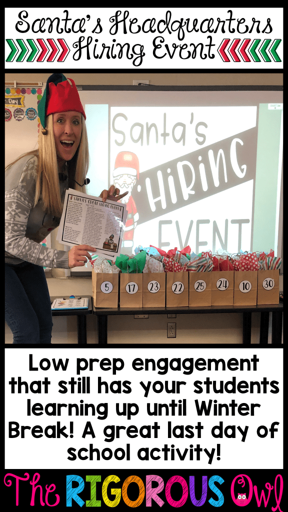 Getting your students ready for the Santa's Hiring Christmas Classroom Event