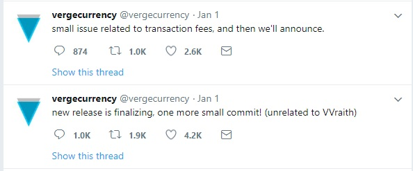 Verge Team fixing small issues before Wraith release