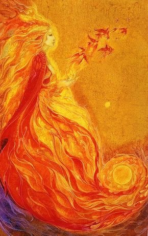 Maiden of The Sun: A painting with orange flames