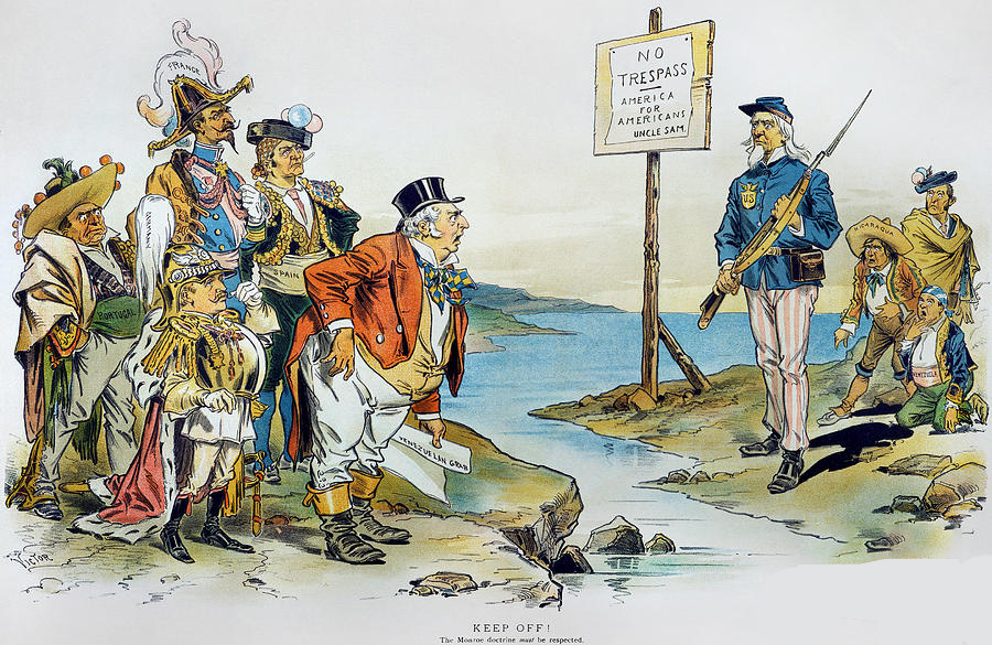 The Monroe Doctrine Caricature Cartoon With America & England