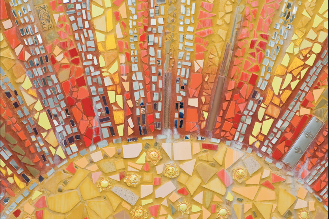 """Perusing for a Passion: A Mosaic of All Things We Love (Yellow, Sunrise) [Original Artwork:sunrise Detail from """"Living 2007"""", a mural at Bryn Mawr and Lakeshore Drive, Edgewater, Chicago]"""