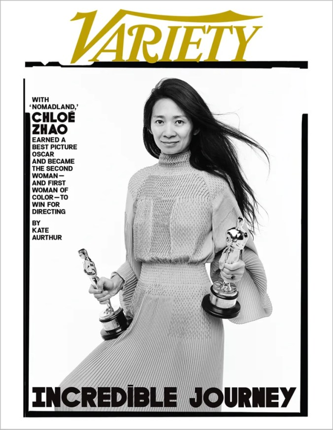 Chloe Zhao's Variety magazine cover after winning two Academy Awards: for best director and best picture.