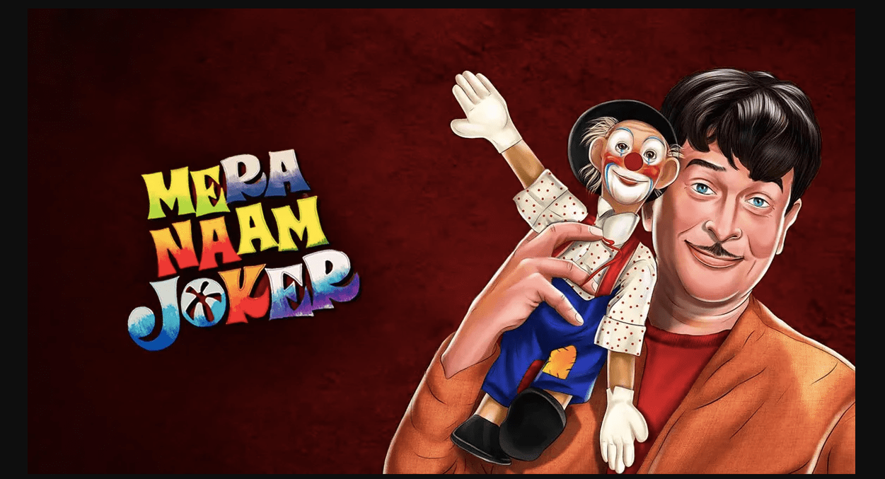 Mera Naam Joker Poster: Raj Kapoor's Cult Classic Bollywood Film. Banner for the article about how the show must go on in bollywood.