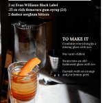 Old Fashioned sitting on bar with drastic shadows of light. Overlay of recipe text.
