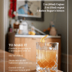 Japanese cocktail sitting on wood table. Overlay of recipe text.