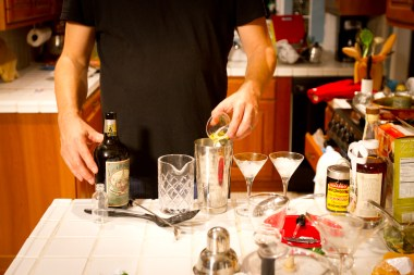Eric prepares the Absinthe American cocktail