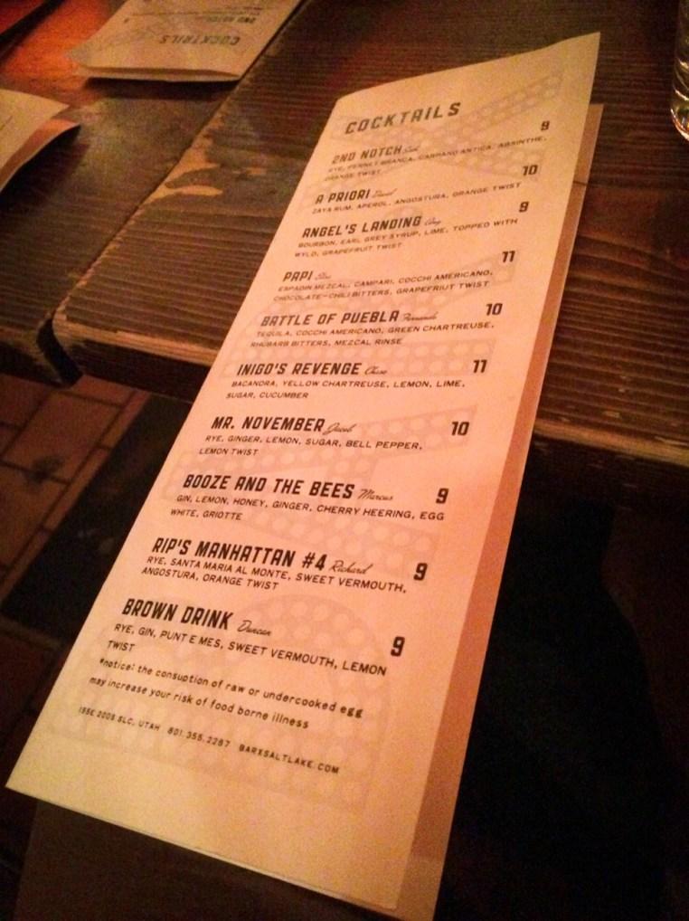 Bar X - Salt Lake City - Prior Bar Menu