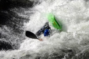 kayak kayaker upsidedown hole