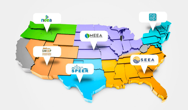 Map of six regional energy efficiency organizations REEOS