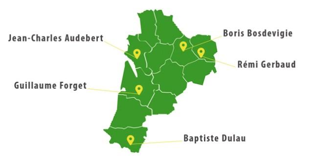 Carte des thermiciens de la Nouvelle-Aquitaine