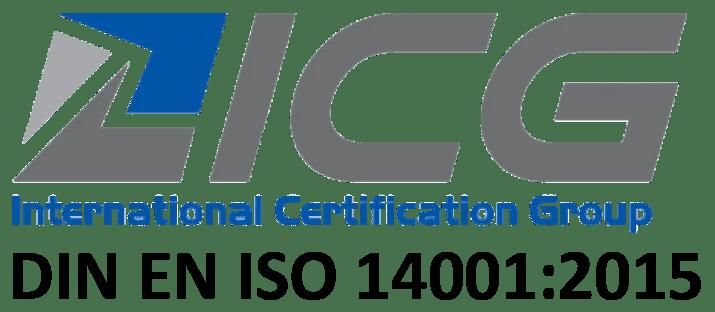 Logo der ICG und ISO Angabe: DIN EN ISO 14001:2015