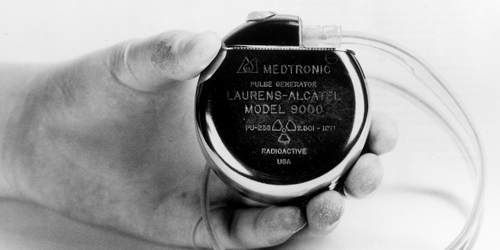 A radioisotope thermoelectric generator (RTG) pacemaker