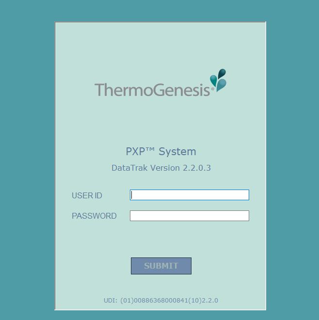 PXP DataTrak Software Screen