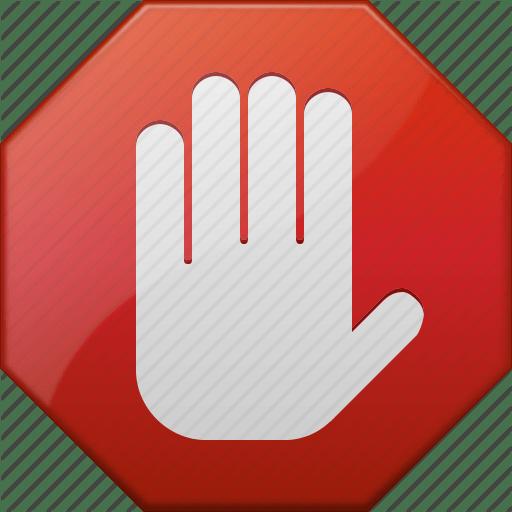 Logo stop main sur fond rouge