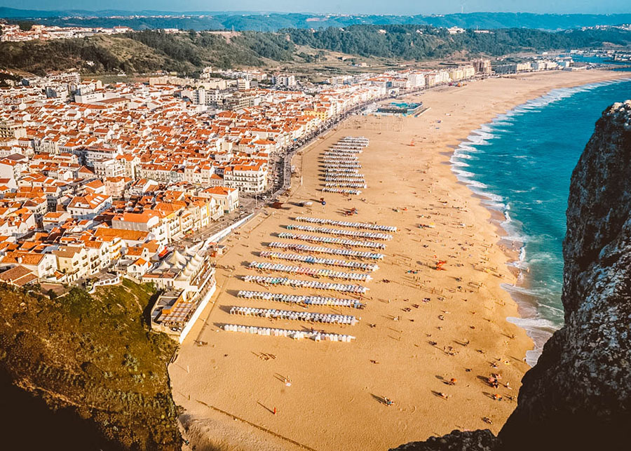 An aerial image of the seaside Portuguese village of Nazare