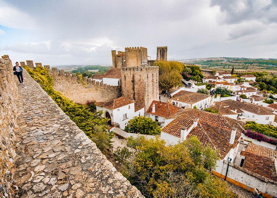 Walking the walls of Obidos, Portugal