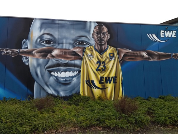 Graffiti, SBeckyOne, S. Beck, Streetart Oldenburg, Portrait, EWE Arena, EWE Baskets, Rickey Paulding