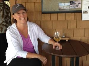 Sissy taking a wine break on the deck