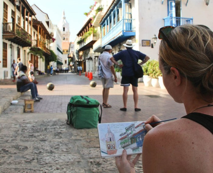 Candace Rose Rardon sketching in Colombia