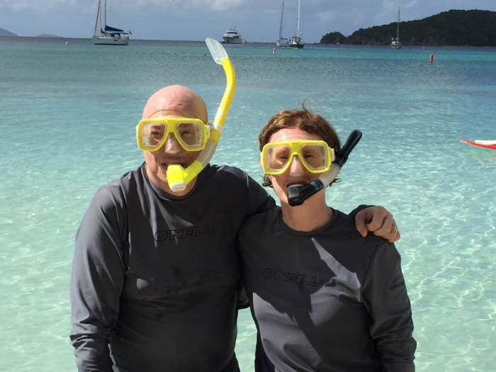 Mary Gilbert and Bill Whitlatch snorkeling