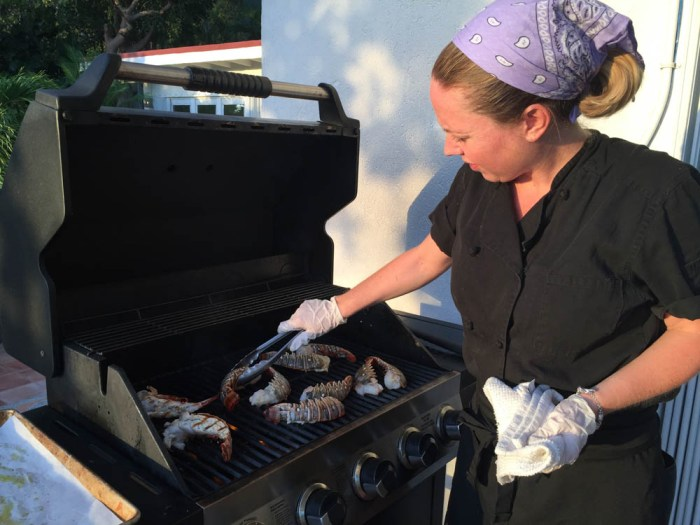 Personal chef Erin Hraster at grill