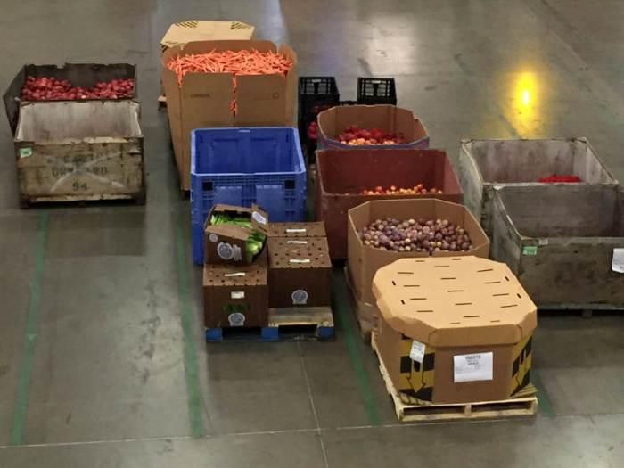 Produce pallets at Redwood Empire Food Bank