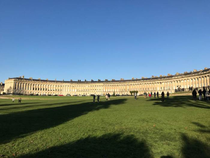Panorama of Royal Crescent in Bath