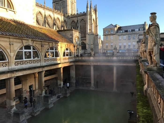 Roman Baths from terrace with Bath Abbey