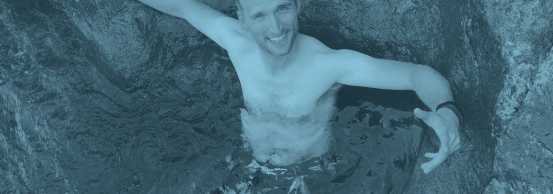 Me sitting in a cold pond at the head of a waterfall.