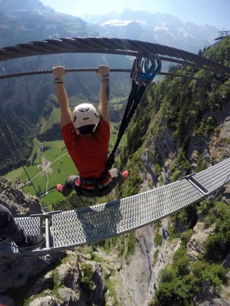 go pro, via ferrata, crazy, hang, switzerland, murren, nic, paul, hilditch-short, Why humans have it wrong when it comes to time, money, retirement and Happiness! happy, retire, money, one life, millenials, change your life, dreams, early retirement, don't retire, pension, adventure, honesty, work, jobs, be your own boss, digital nomad, travel long term, remote working