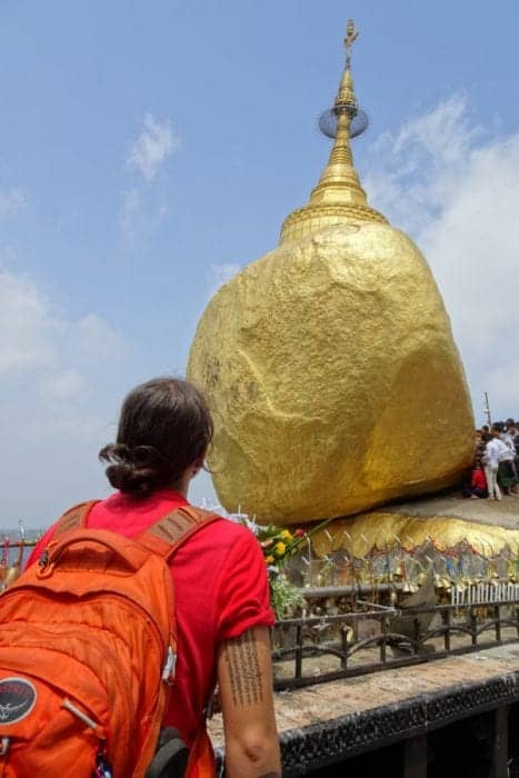 Myanmar golden rock, Kyaiktiyo Pagoda, how to visit Kyaiktiyo Pagoda, Bago, How to visit the Kyaiktiyo Pagoda from Yangon, day trip, bus, train, flight, hike, clothing, women, buddhism, How to visit the Golden Rock Pagoda from Yangon, Bago, Lake Inle, Mandalay, Bagan, Kyaikto, Kinpun, village, hotel, hostel, accommodation, truck, how to visit, rules, long pants, long trousers, longyi, skirt, golden rock hotel myanmar,